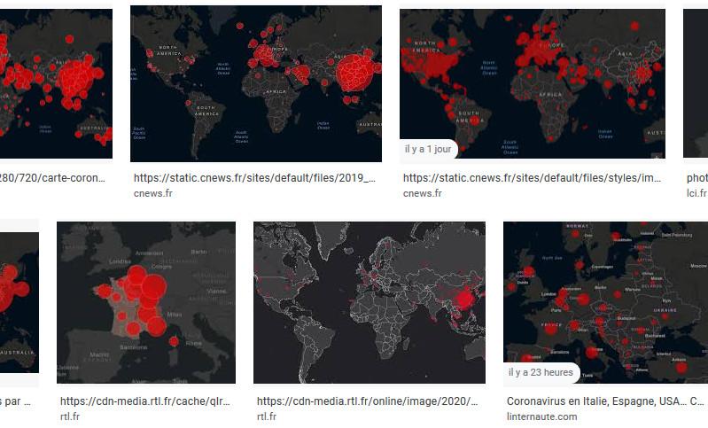 Le rouge et le noir dominent sur les cartes reprises et diffusées par les médias